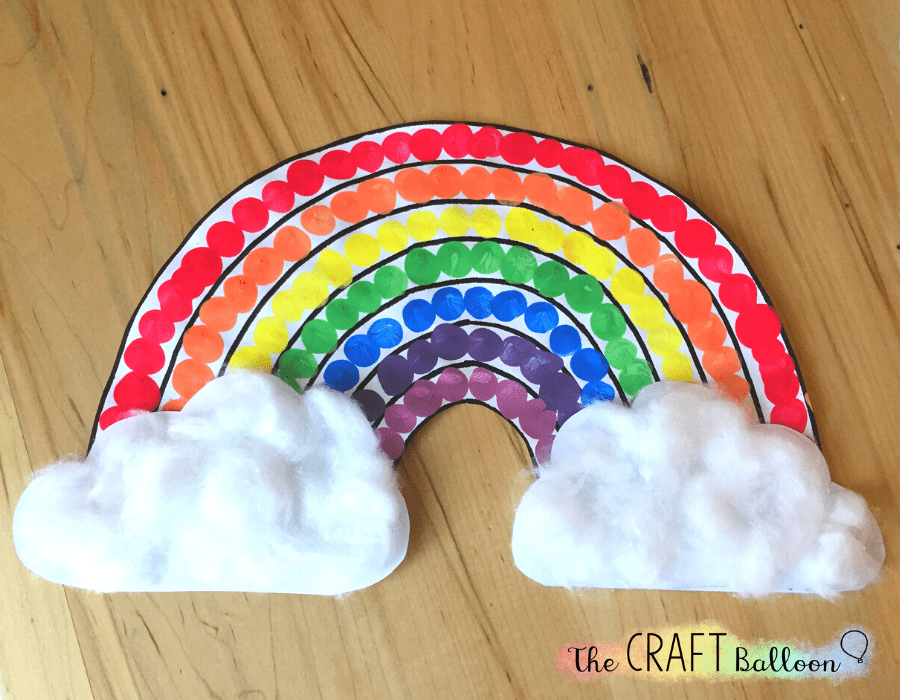 Completed finger paint rainbow craft
