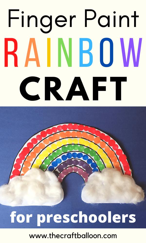 Finger paint rainbow craft for preschool