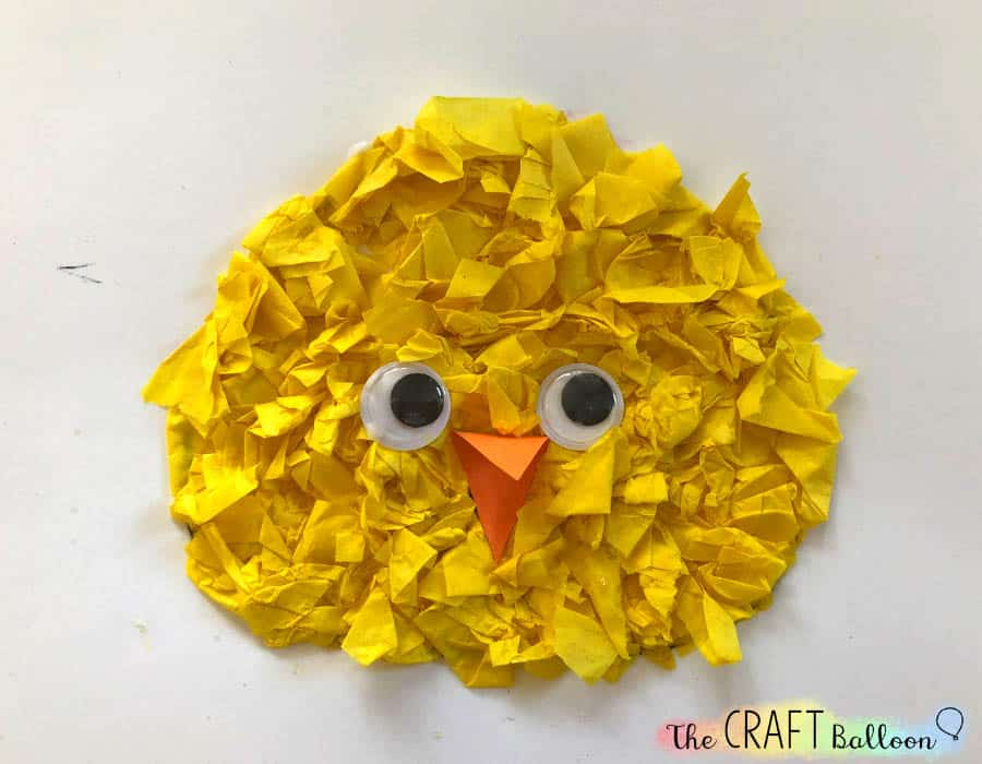 Completed chick with wiggly eyes and beak.