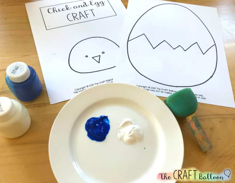 Egg and chick craft printable and pains
