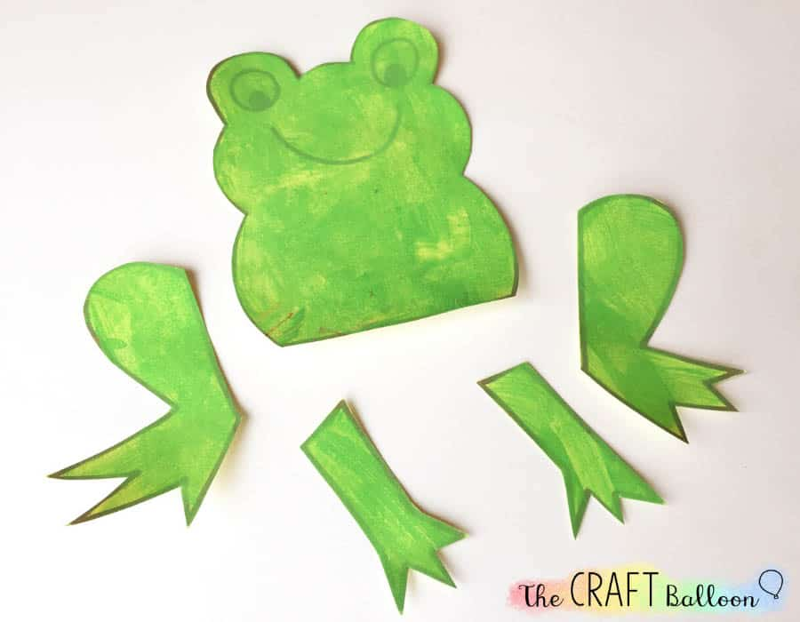 Frog craft parts painted and cut out.