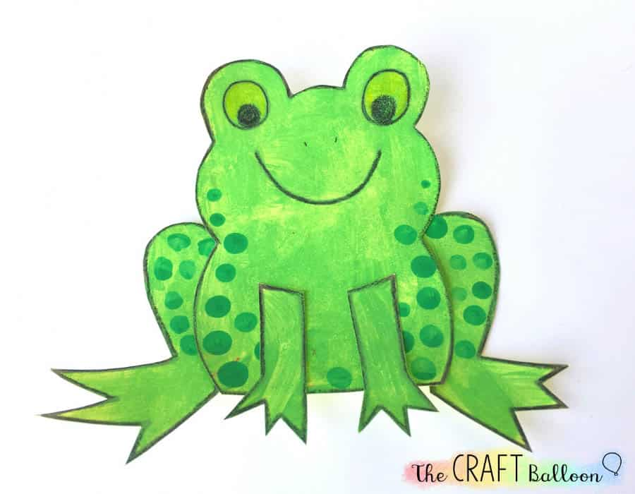 Completed frog craft for kids