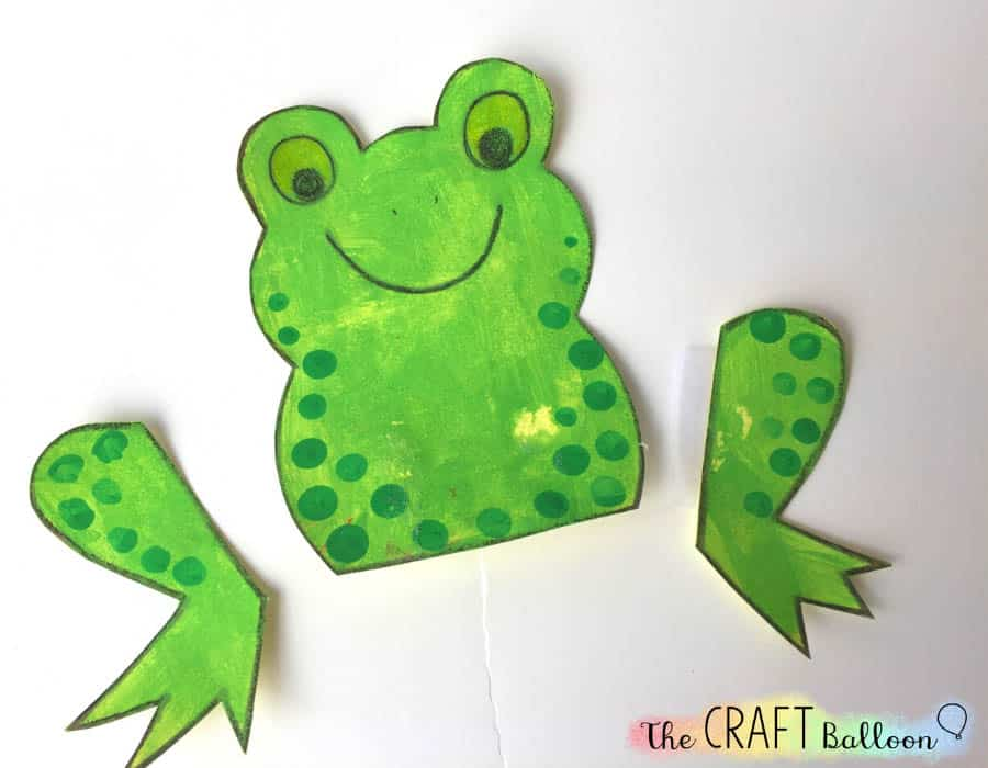 Frog craft completed body and legs.