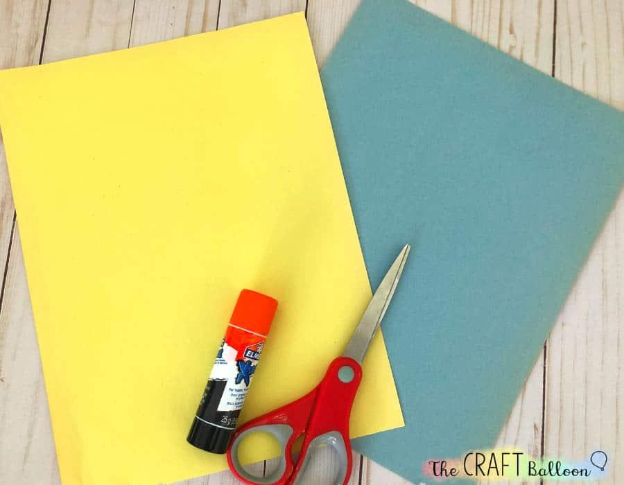 paper, scissors and glue stick