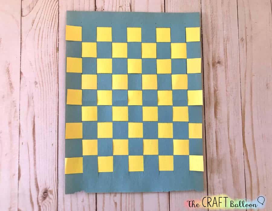 Finished paper woven sheet for Easter basket craft