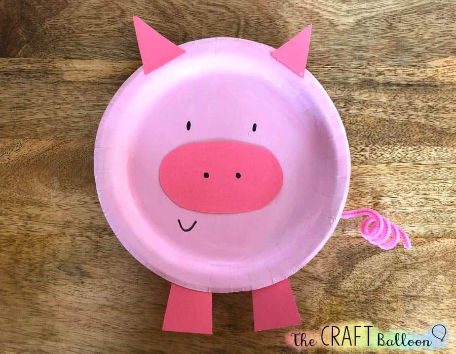 finished paper plate pig
