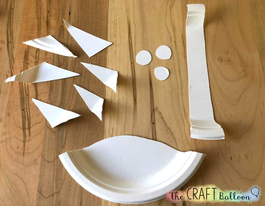 All parts of coconut tree craft cut out and ready to assemble
